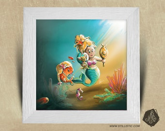 Frame square 25 x 25 birth gift with Chihuahua Mermaid Illustration and fish kids nursery baby