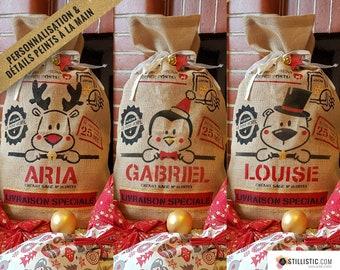 Christmas hood gift bag in personalized burlap name child Motif Reindeer