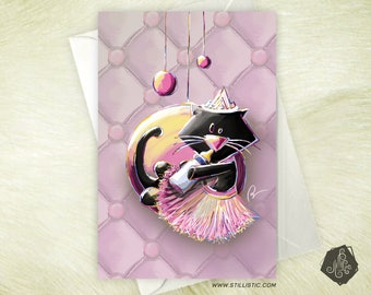 Greeting card mothers day Christmas friendship kitten birth announcement and moon