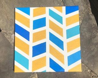 Geometric Blue/Gold painting