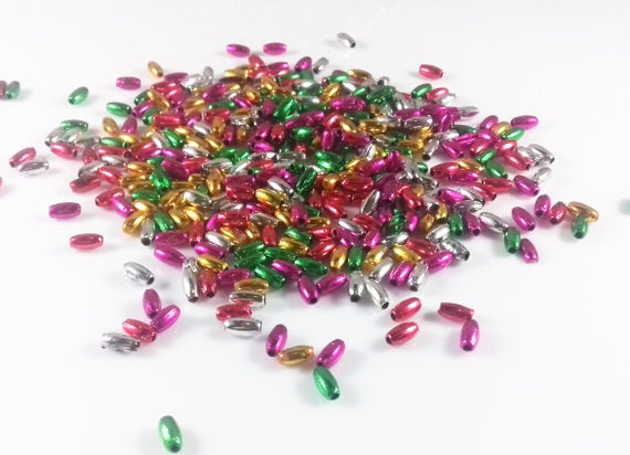 1,000 pcs Metallic Christmas Red Plastic Pearls 3mm x 6mm Oval Rice Craft Beads
