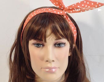 Coral polka dot semi rigid headband white