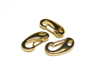 Large clasp / stainless steel hook - eye oval (4x2mm) - beautiful gold - FERMO150R084