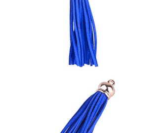 Tassel pendant charms - Synthetic (10cms) - dark electric blue and gold light pink - PENSY17BLE0695