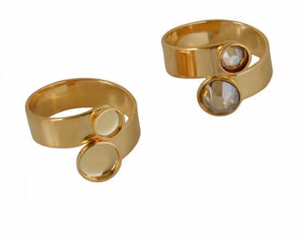 Double brass tea (17.5 mm, adjustable) - for Swarovski 2088-SS20/SS34 - gold - ring BAPLA17OR0512