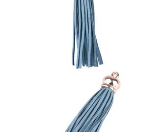 Tassel pendant charms - Synthetic (10cms) - grey-blue and gold light pink - PENSY17TU0394