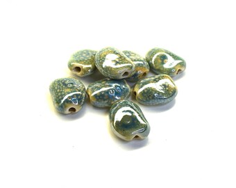 Porcelain Pebble (20mm) - for leather round (hole 2mm) - green, Turquoise - PPORPA2215BLE086