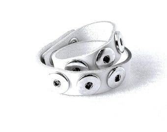 Bracelet leather - size M - DoubleBeads 43.5x2cm - adjustable in 2 sizes - white and silver Metal