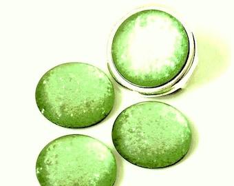 Cabochon resin - Glitter - circular (20mm) - Green - CABSYRD2016VE232