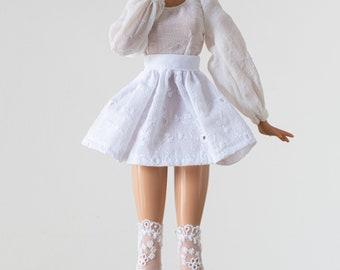 Embroidered white skirt - Pullip / Blythe
