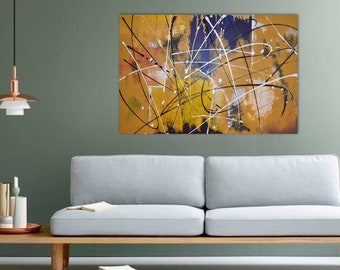 Large Yellow Art Painting on canvas