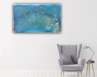 Resin Abstract Painting with stones details