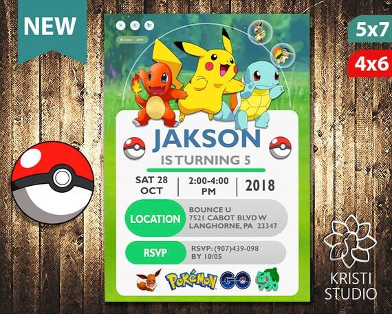 Pokemon Invitation Pokemon Invite Pokemon Birthday Pokemon Birthday Invitation Pokemon Party Pokemon Printable Pokemon Card