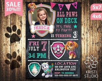Paw Patrol Invitation Girl - Paw Patrol Invitation - Paw Patrol Girl Birthday - Paw Patrol Birthday Invitation - Paw Patrol Girl Party