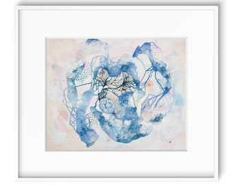 "Original Abstract Painting 16x20 Wall Art Watercolor Contemporary Painting Blue and Pink Art Abstract Nature Art- ""Growth"""