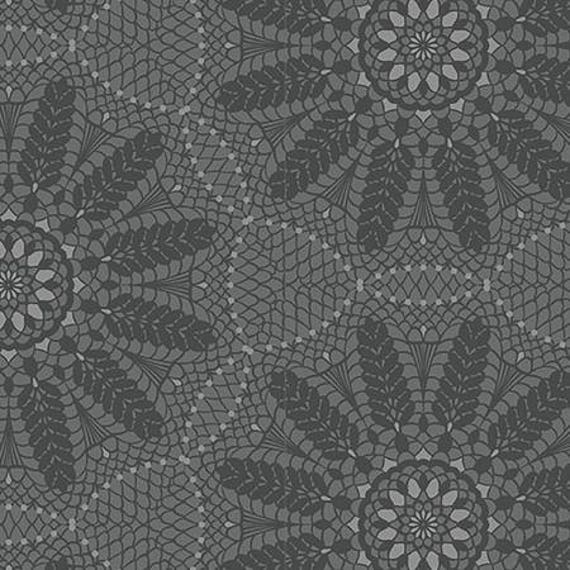 Grey Crochet Lace 100% Cotton Fabric - Meadow Dance