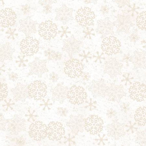 Woodland Retreat Beige Snowflakes Flannel Fabric