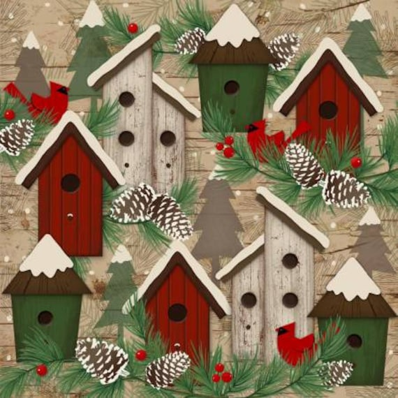 Woodland Retreat Birdhouses Flannel Fabric
