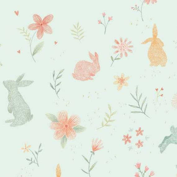 Bunny Tales Blue Flannel Print