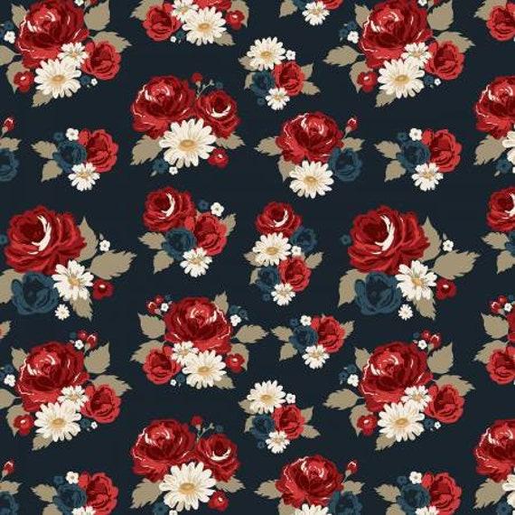 American Heritage Blue Floral Print