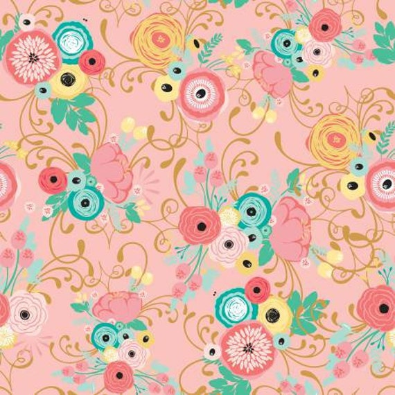 Just Sayin  Riley Blake Pink Floral Swirl