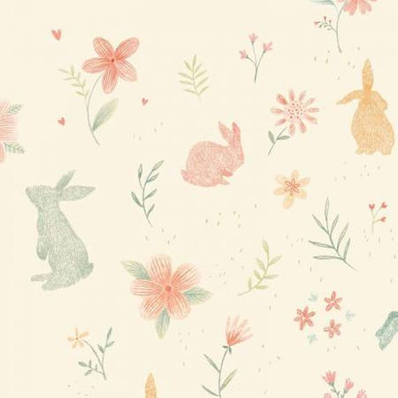 Bunny Tales Cream Bunnies Print Flannel
