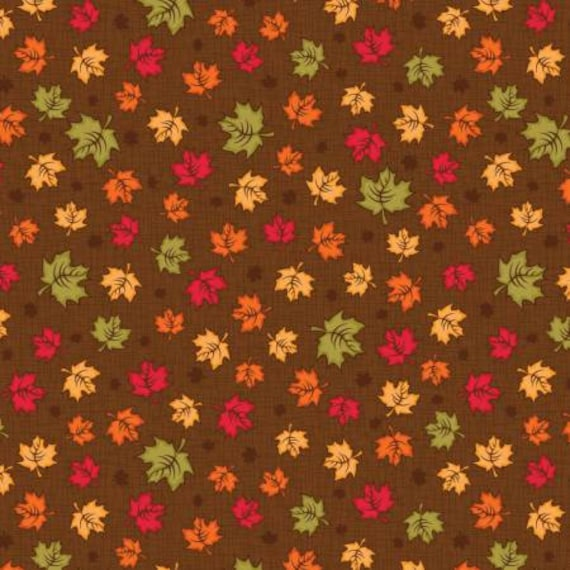 Brown Maple Leaves yardage