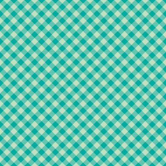 Teal green diagonal check print