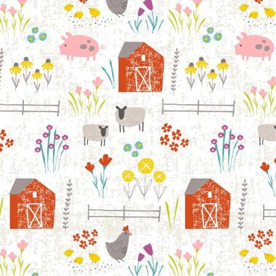 Wildflower Farm with barn, farm animals and wildflowers