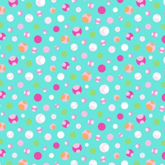 Girly-O-Saurus Aqua Spotted Dots Fabric