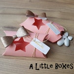 Box dragees star and bow, peach and gold