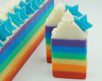 Over The Rainbow Soap  | Natural | Pride | Birthday Gift | Rainbow | Party | Soap Bar | Stars | Graduation Gift | Gift | Gift For Her. Vegan