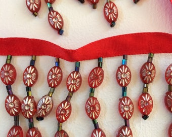 """Red Beaded Trim 2"""" Wide-28"""