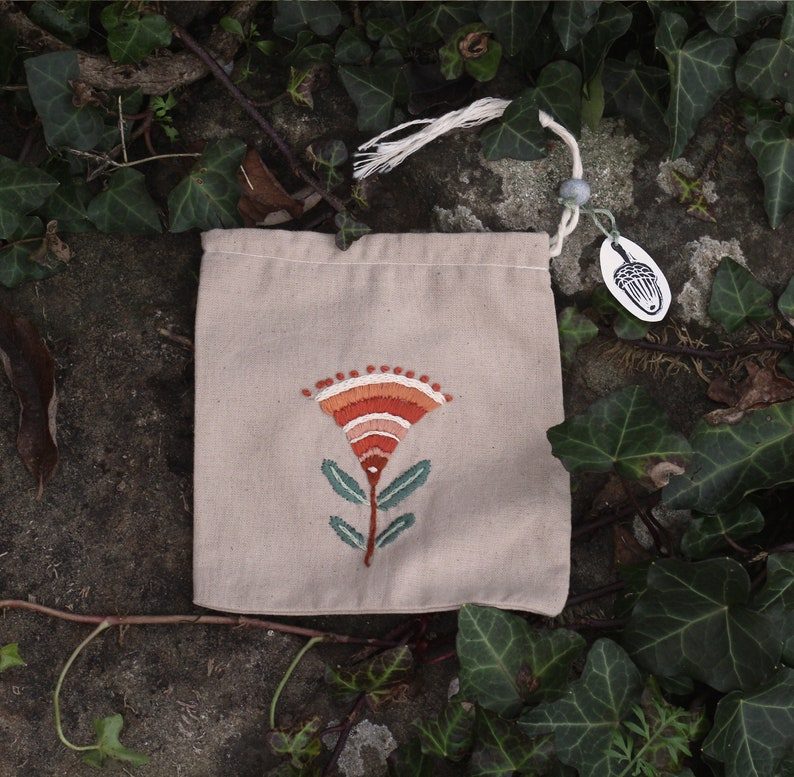 Embroidered Pouch Drawstring Bag Handmade Protection Pouch Embroidered Bag