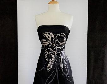33f8e1306c50 90s prom dress, vintage 1990s dress, White House Black Market dress, black  satin prom dress, vintage strapless Asian dress, 1990s S small