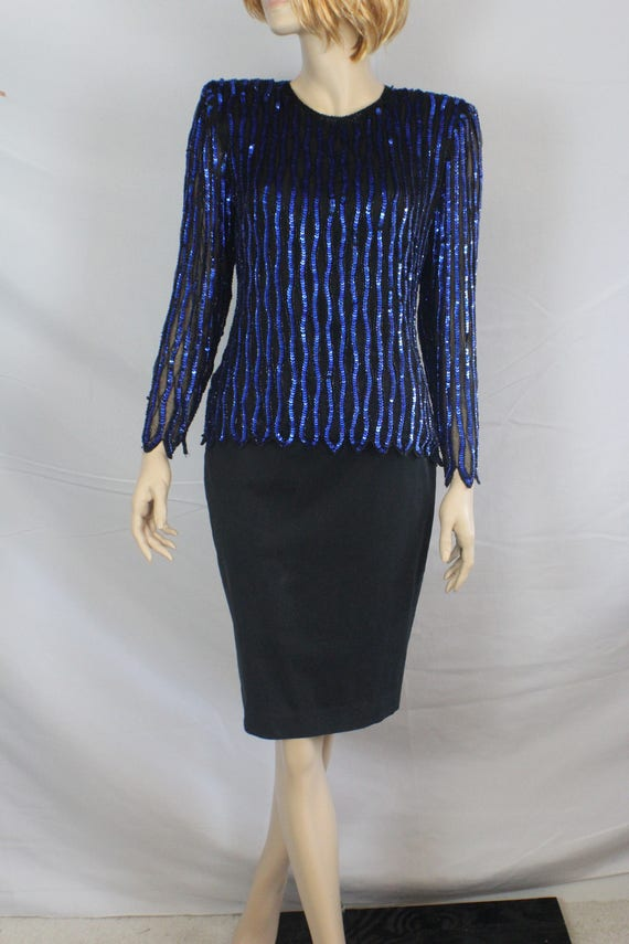 c17bfd8265 80s trophy top vintage 1980s blue sequin blouse vintage