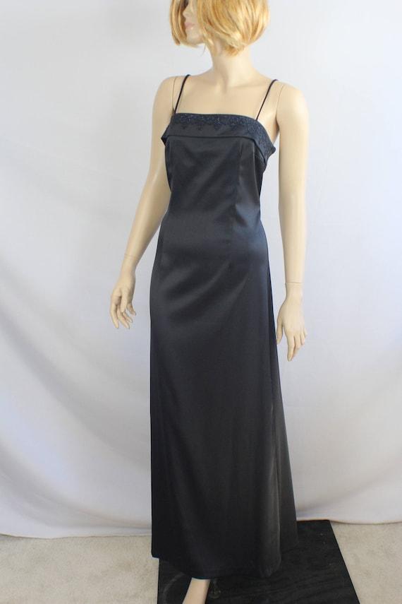 90s prom dress, vintage 1990s dress, black satin,