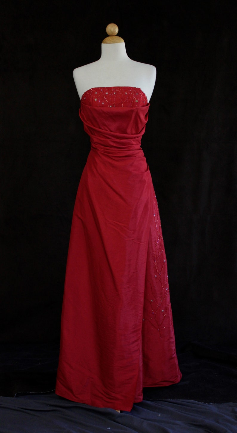 7293a1ce236 80s prom dress formal red corset dress vintage 1980s ball
