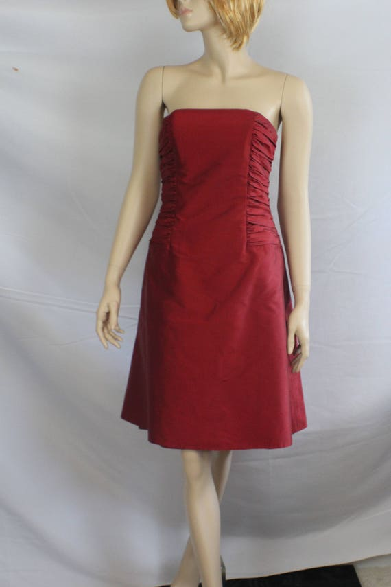80s prom dress, vintage 1980s dress, red shantung