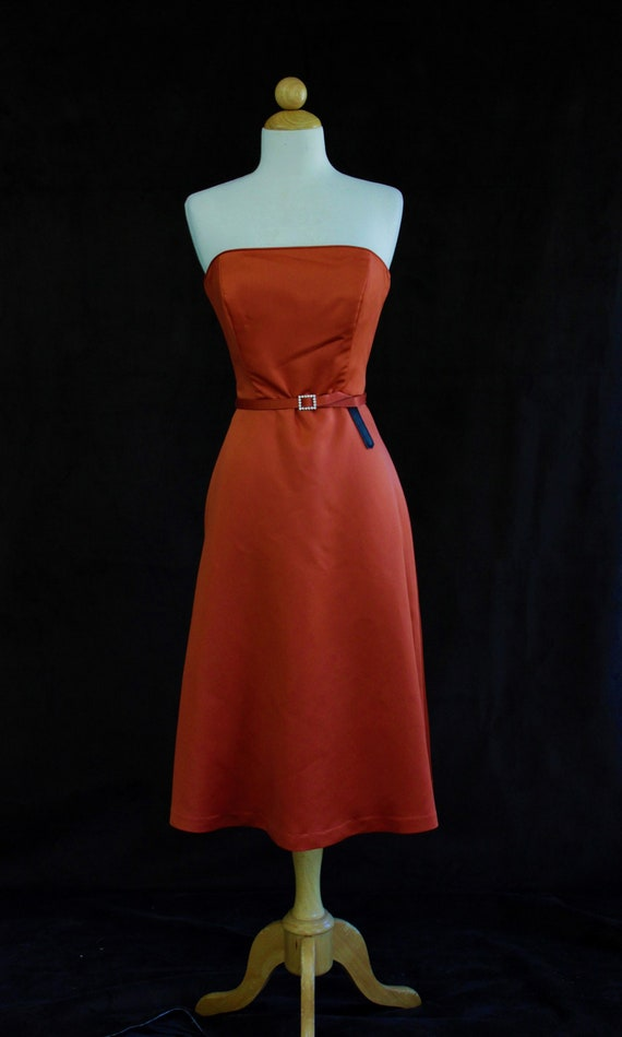 90s prom dress, formal orange satin prom dress, vi