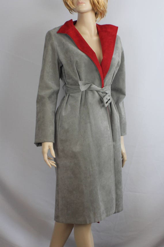 80s leather trench, vintage 1980s coat, gray suede