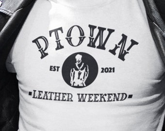 Ptown Leather Weekend Short-Sleeve T-Shirt, Provincetown Festival TShirt, Retail Fit Comfort Clothing, Cape Cod Crew Neck Tee, Gay Present