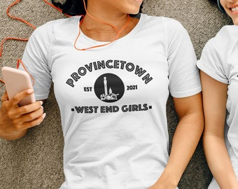 Provincetown West End Girls Short-Sleeve T-Shirt, Ptown Monument Shirt, Relaxed Fit Gym Clothing, Cape Cod Crew Neck Tee, LGBTQ Birthday