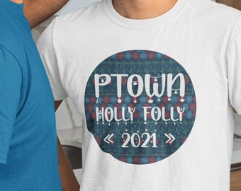 Provincetown Holly Folly Short-Sleeve T-Shirt, Ptown Christmas Festival Tee, Euro Fit Clothing, Cape Cod Crew Neck, LGBTQ XMAS Gift