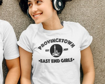 Provincetown East End Girls Short-Sleeve T-Shirt, Ptown Monument Shirt, Relaxed Fit Gym Clothing, Cape Cod Crew Neck Tee, LGBTQ Birthday