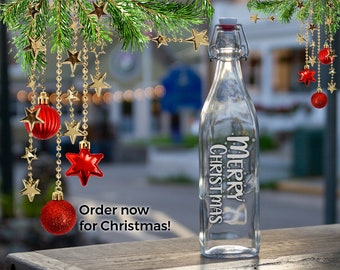 Merry Christmas Etched Water Bottle, Personalized Season's Greetings Holiday Gift, Engraved Swing Top Bottle, XMAS Party Glass Carafe