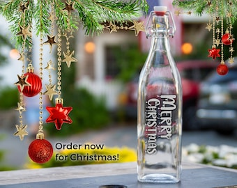 Merry XMAS Etched Water Bottle, Personalized Christmas Greetings Holiday Gift, Engraved Swing Top Bottle, XMAS Party Glass Carafe