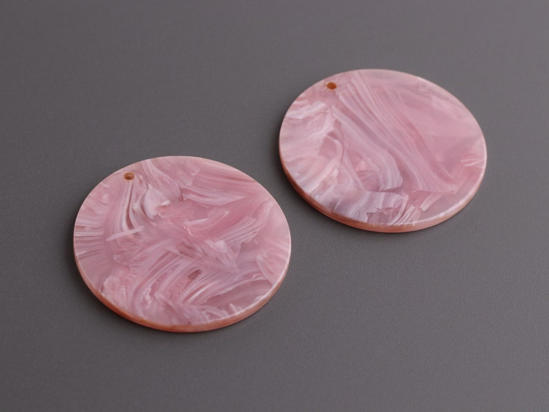 Craft Blanks for Vinyl CN289-35-PK27 Focal Necklace Pendant Acrylic Earring Components 4 Round Discs in Pink and White Marble 35mm