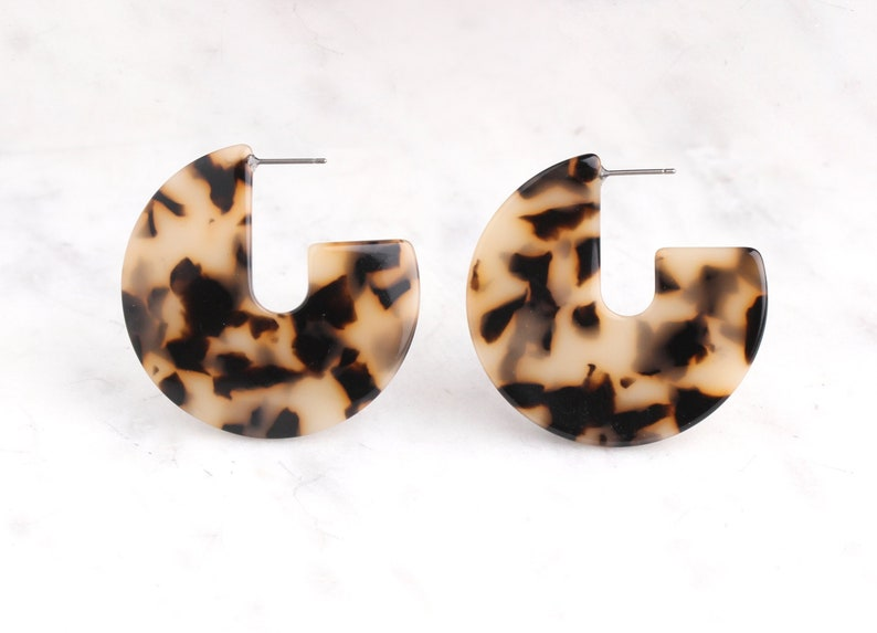055e5c6d207 Blonde Tortoise Shell Hoop Earring Findings 1 pair Chunky