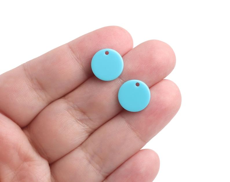 12mm Basic Jewelry Supplies Minimalist CN298-12-U40 Mini Disc Charms Bracelet 4 Arctic Blue Charms Small Acrylic Blanks with 1 Hole
